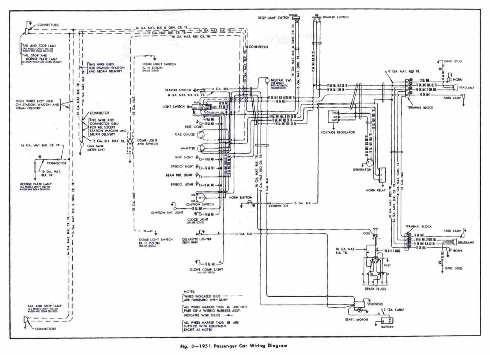 chevrolet passenger car 1951 wiring diagram