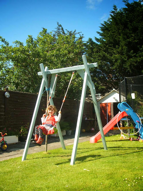 handmade upcycled wooden child's garden swing