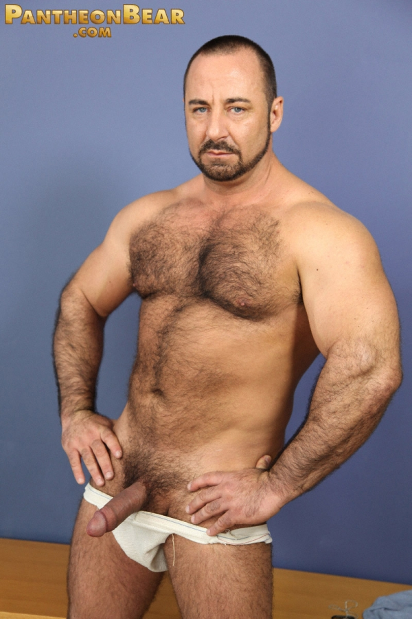 Sexy bear Rocky LaBarre gets nude and jerks off