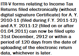ITR-V filing extended upto 31st December 2012