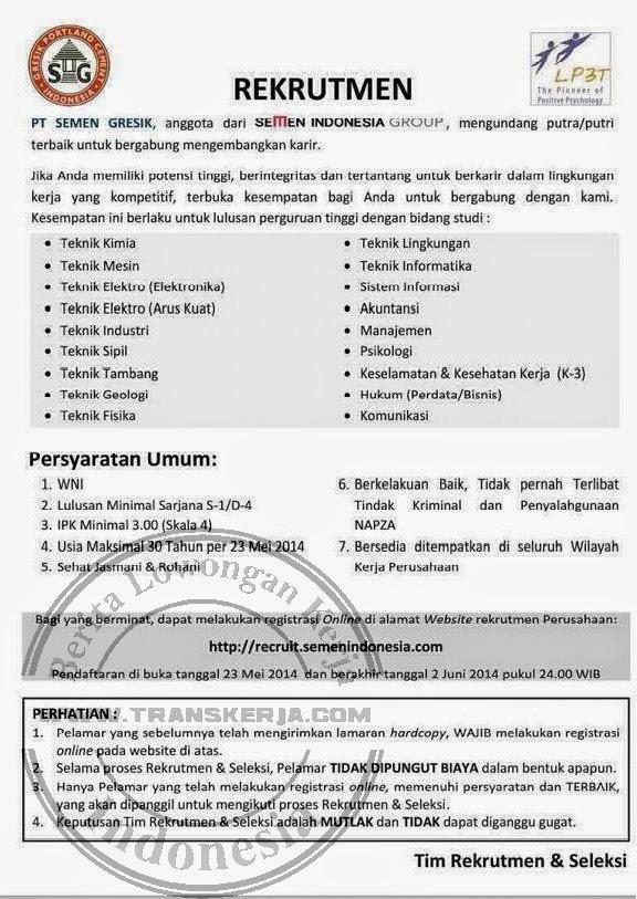 Lowongan Kerja Teknik Recruitment PT Semen Gresik