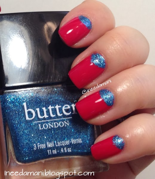 Pink and blue glitter half moon nails