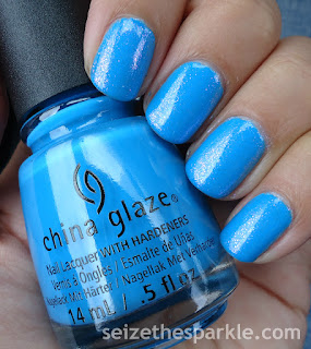 China Glaze DJ Blue By You over Pure Ice Iris