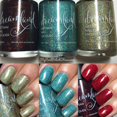 Dreamland Lacquer Inaugural Collection; Valentine's Day Trio - Great Romances, 2016