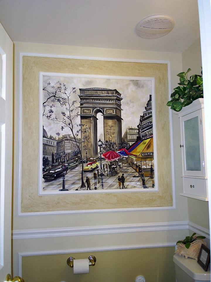 French mural in powder room