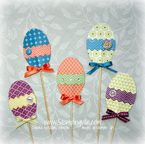 Brightly colored patterned paper Easter eggs decor idea