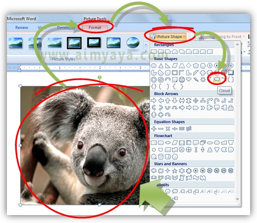 Gambar: Cara crop (memotong) gambar menjadi cloud (awan) di Microsoft Word