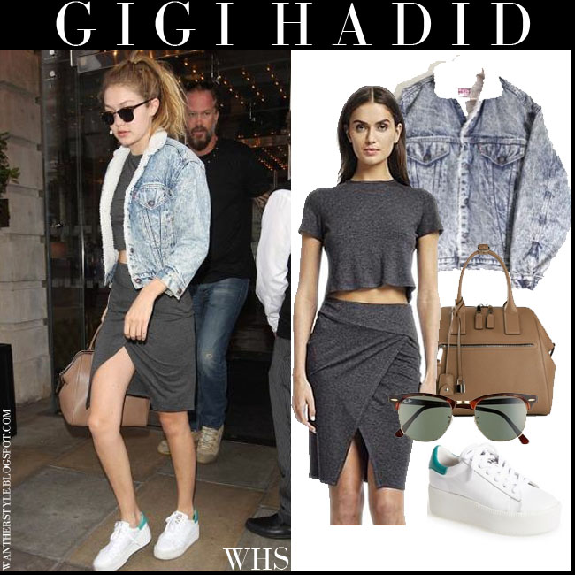 Gigi Hadid in white platform Ash Cult sneakers with Ray Ban clubmaster sunglasses and acid wash Levis jacket marc jacobs incognito bag what she wore july 2