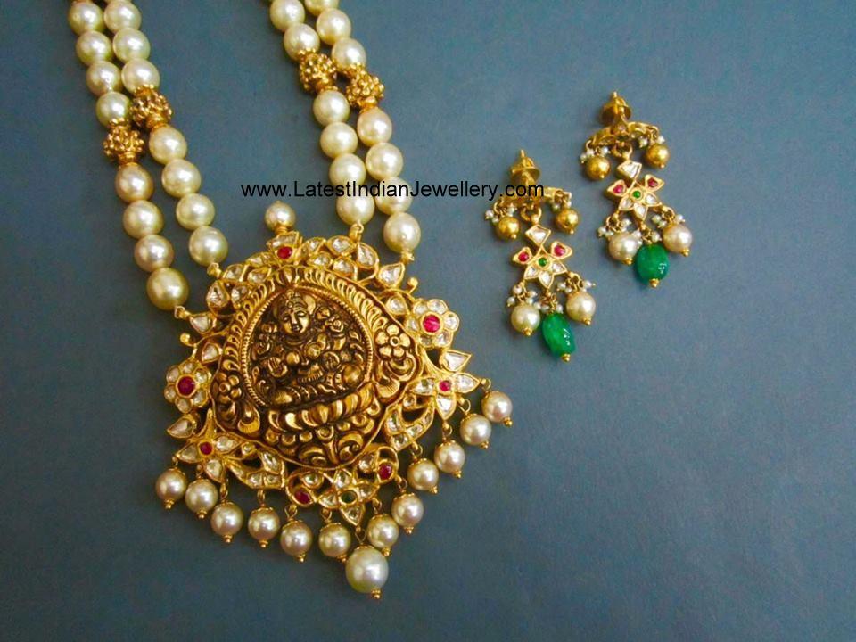 south pearls lakshmi kundan pendant
