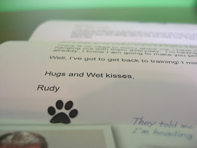 Another up close picture of the letter - Rudy sends hugs and wet kisses to me!