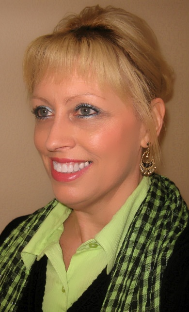 lime green scarf and blouse