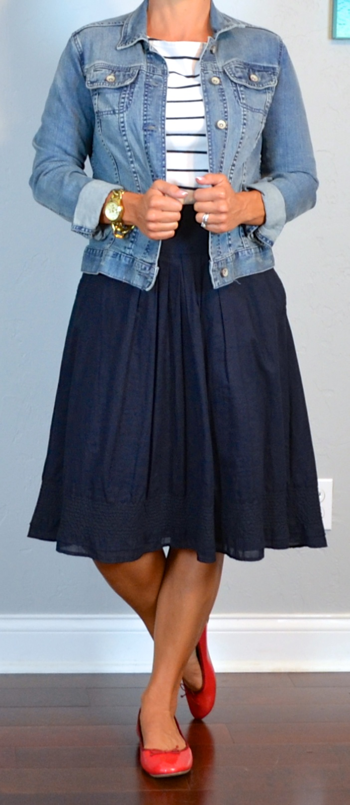 outfit post: striped shirt, jean jacket, navy a-line skirt ...