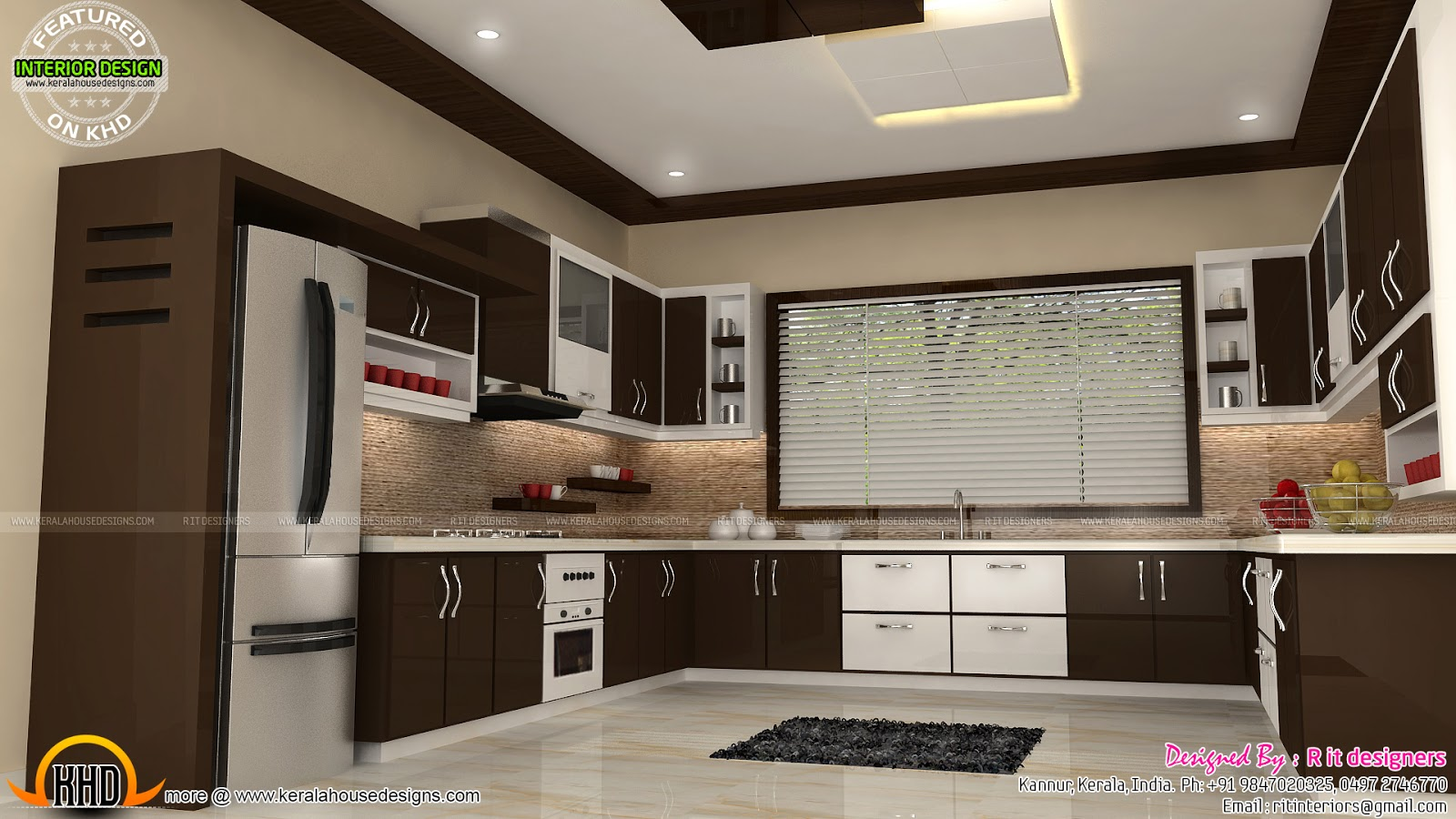 New modern luxury villa keralahousedesigns Bedroom with kitchen design