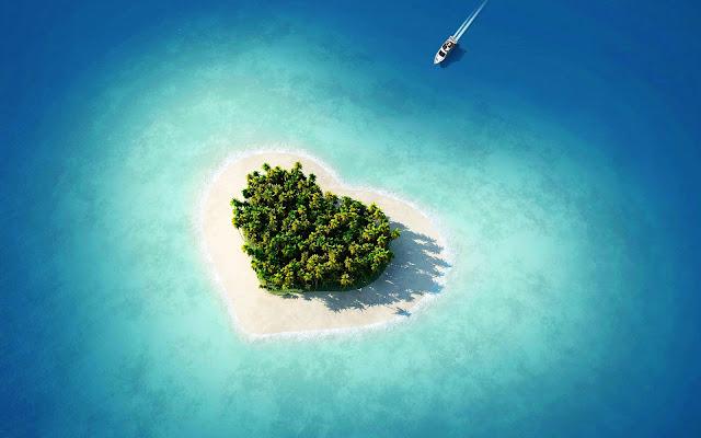 Eiland in de vorm van liefdes hartje
