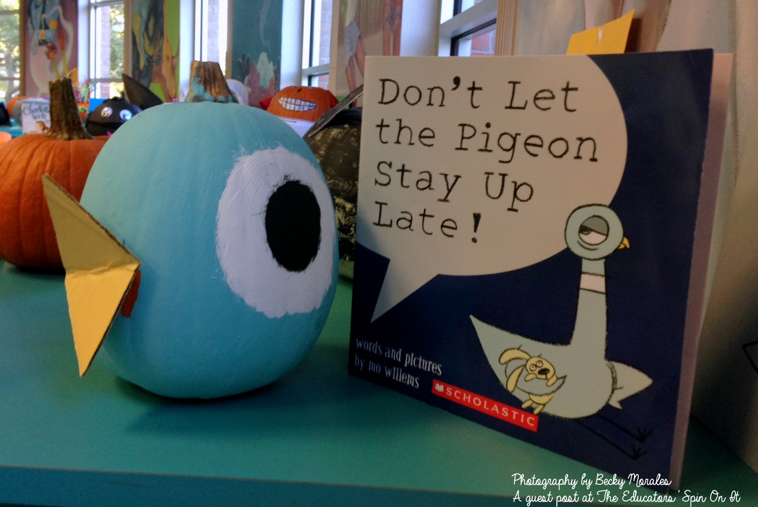 Directions on how to make the Don't Let the Pigeon Stay Up Late! Inspired Story Book Pumpkin Character: