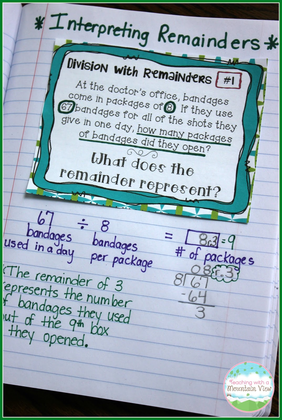 Fourth grade division word problems with remainders