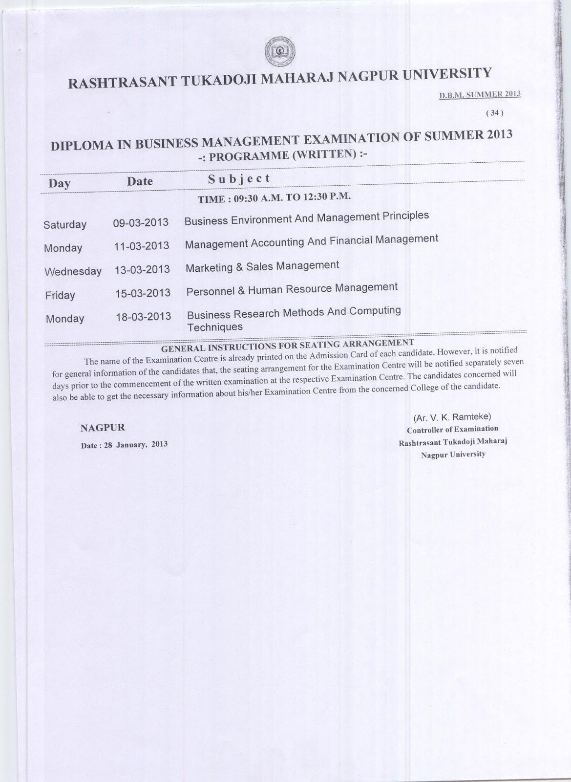 Nagpur University DBM Time Table Summer 2013 Exam Download