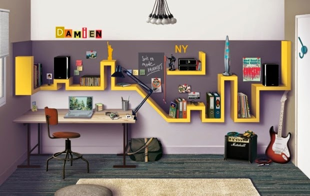 Teen Room Decorating Ideas: Modern Teen Room With Yellow Accents