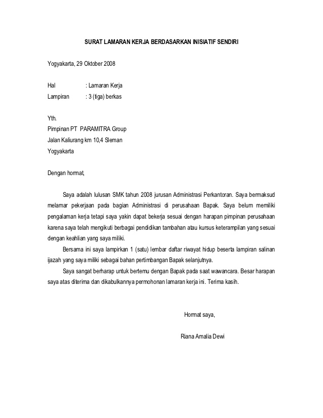 Bursa Lowongan Kerja Sma Smk D3 S1 S2 Contoh Surat Lamaran