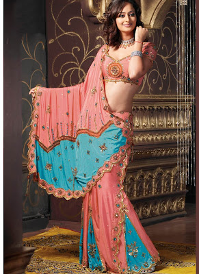 ORANGE WITH BLUE COLOR LEHENGA SAREE