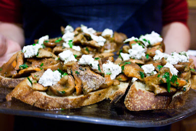 ... : Bruschetta With Sauteed Saffron Milk Cap Mushrooms And Goat Cheese