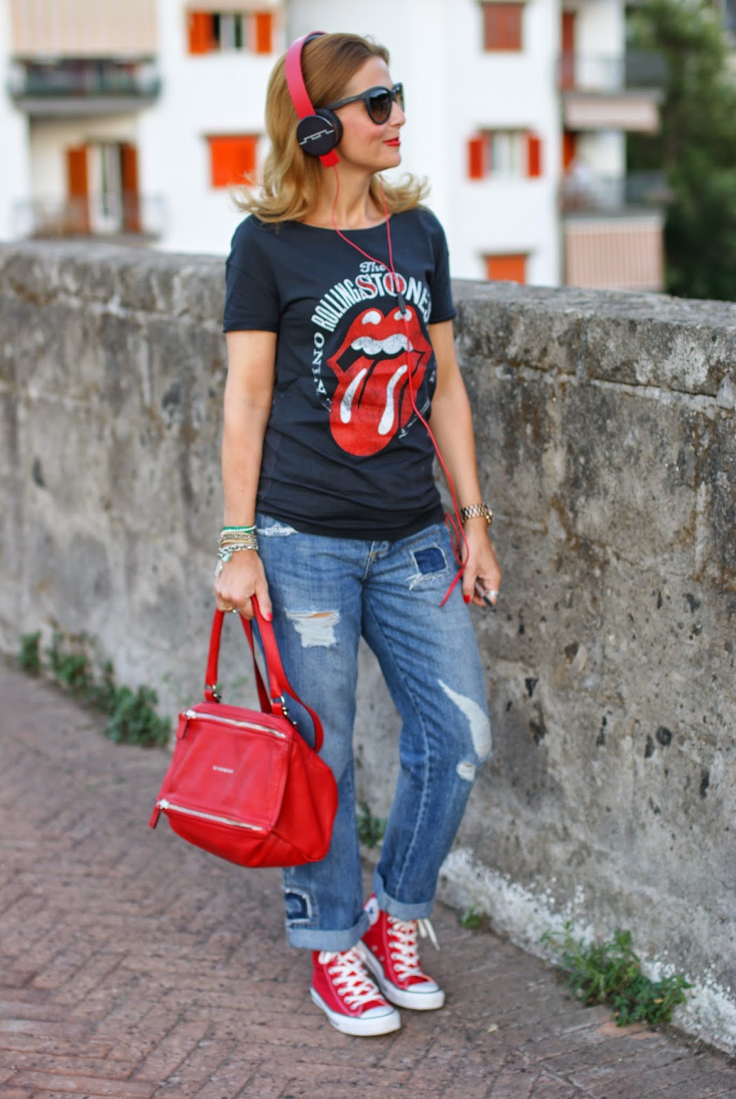 Givenchy red Pandora bag, Rolling Stones tee, red converse shoes, Fashion and Cookies, fashion blogger