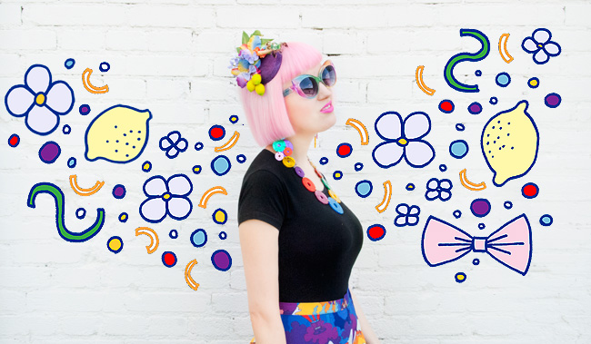 Tatty Devine, Pearls & Swine, Carmen Miranda look