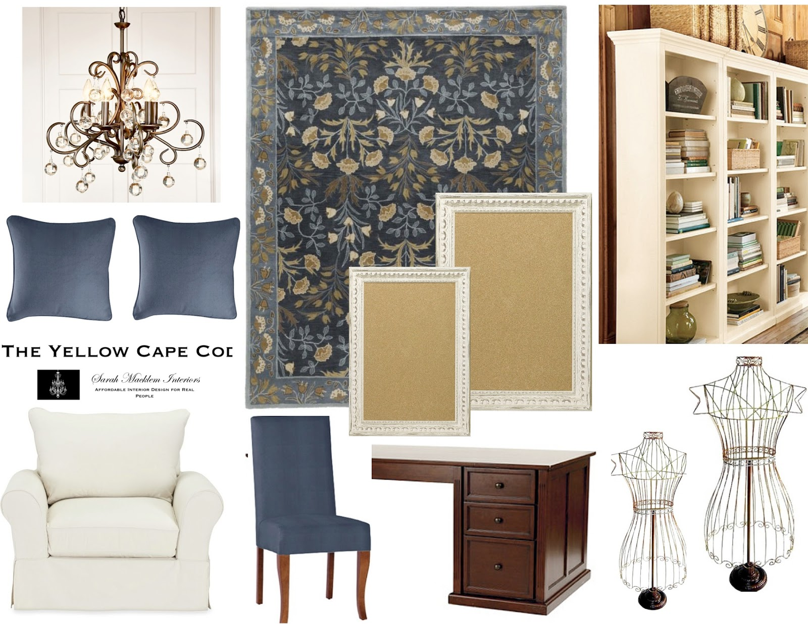 The yellow cape cod subtly feminine home office for Feminine home office