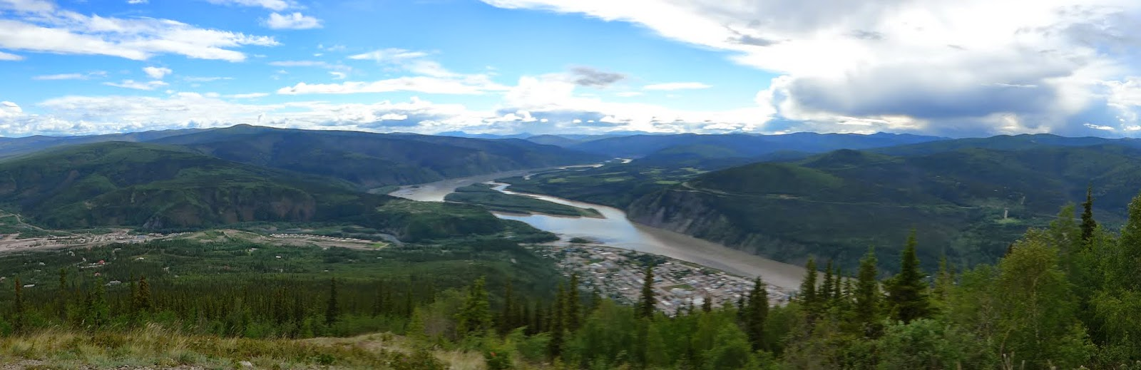View of Dawson City and the Yukon River.