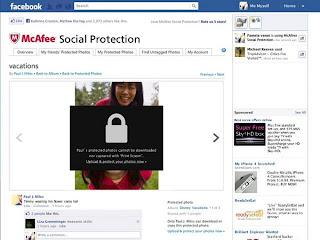 """McAfee Social Protection es ofrecida como aplicación para Facebook, junto con un complemento para el navegador. Infobae Permite que los usuarios seleccionen a los amigos que tienen acceso a sus fotos y entrega imágenes borrosas para todos los demás. Para los amigos seleccionados, las fotos aparecerán correctamente, una vez que estos hayan instalado la aplicación, lo que crea una segunda capa de protección. """"Solo los amigos que recibieron la autorización pueden ver las fotos, pero ellos tampoco pueden compartir, copiar, imprimirlas ni realizar capturas de pantalla"""", informó la compañía. McAfee trabaja en conjunto con Facebook desde hace unos años, lo"""