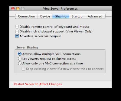 Vine Server preferences