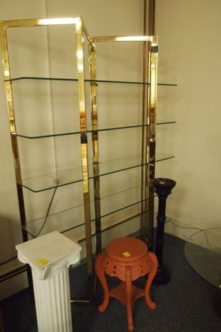 brass and glass shelve