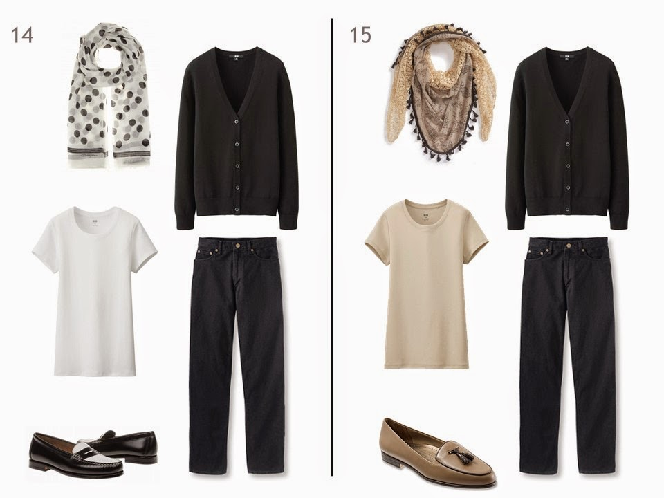 two outfits of a black cardigan and black jeans, one with a white tee shirt, one with a beige tee shirt, each with a patterned scarf and two-toned shoes