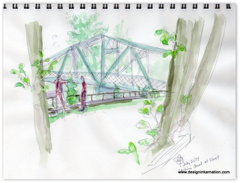 Lachine Canal, Vinet, Urban sketching, watercolour, bridge, summer