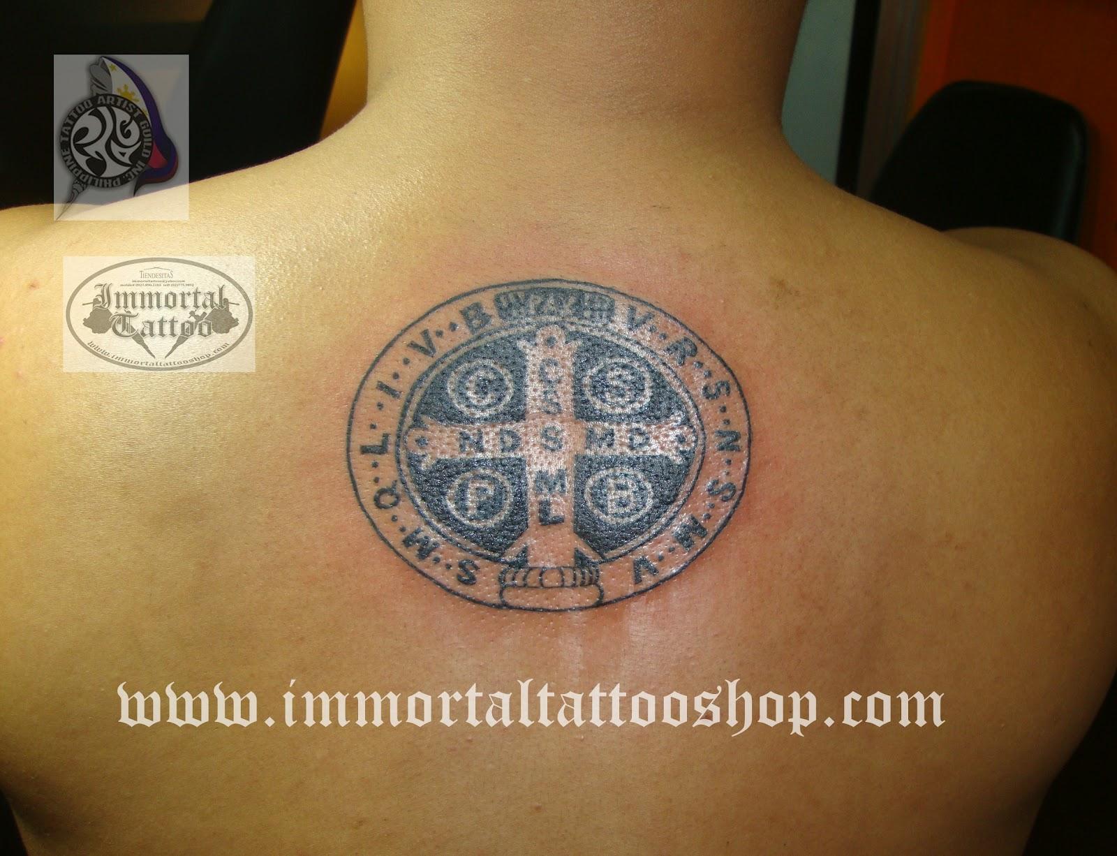 immortal tattoo manila philippines by frank ibanez jr saint benedict tattoo medal tattoo. Black Bedroom Furniture Sets. Home Design Ideas