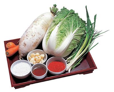 Bahan-bahan untuk membuat kimchi