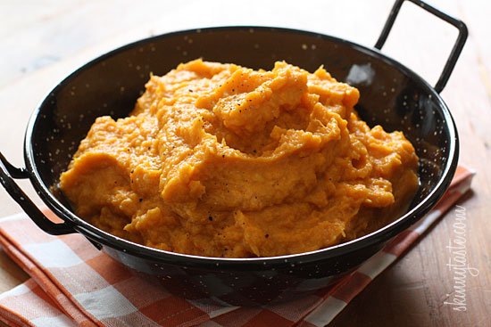 Healthy mashed sweet potatoes with almond milk