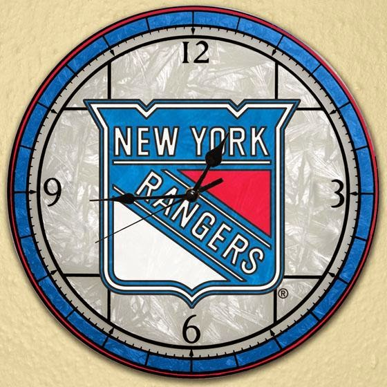 New York Rangers NHL Art Glass Wall Clock
