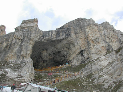 Amarnath cave temple of amarnath yatra pilgrimage in Jammu, india