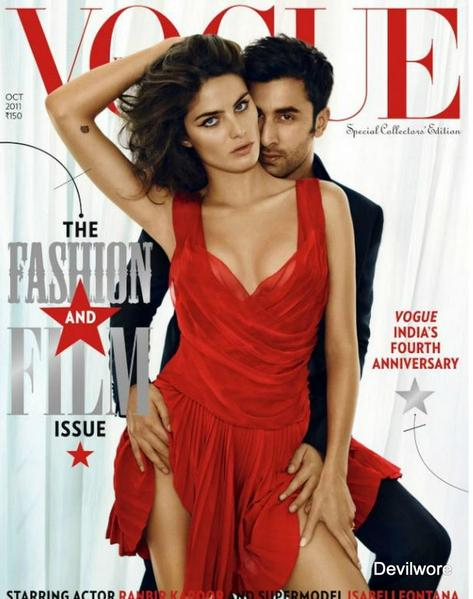 Ranbir Kapoor on Vogue Cover1 - Ranbir Kapoor Brazilian Model Isabeli Fontana Vogue Cover