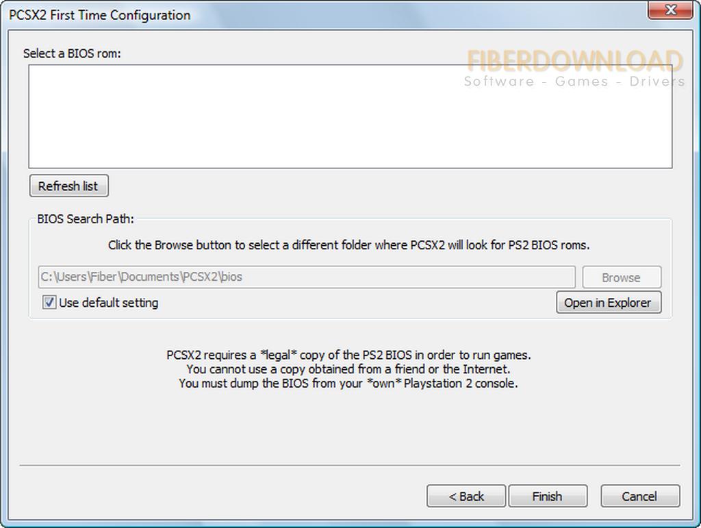 ps2 emulator select a bios rom