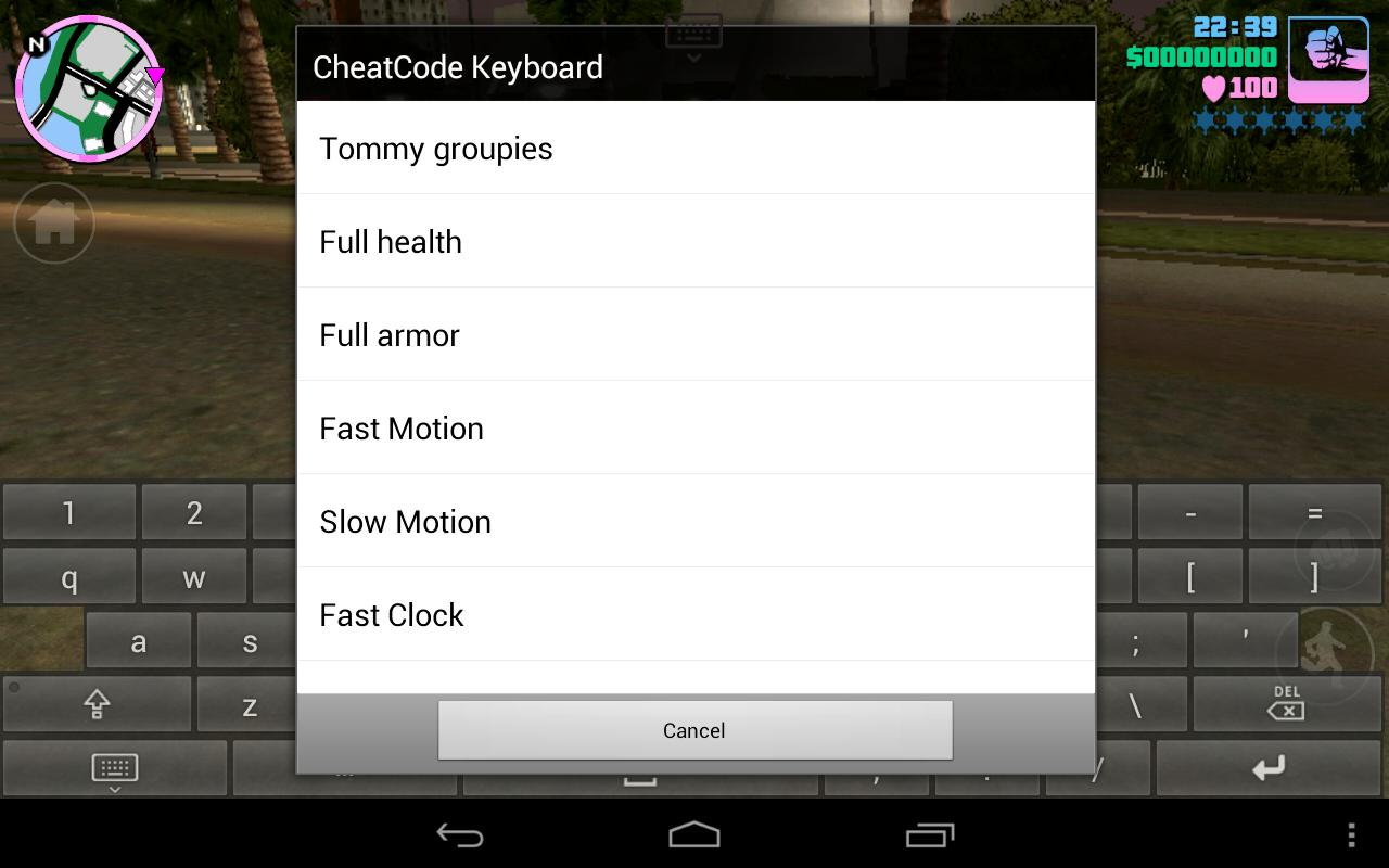 android gta san andreas cheats