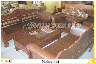 Set Kursi & Meja Tamu Ukiran Kayu Jati Madura Bali