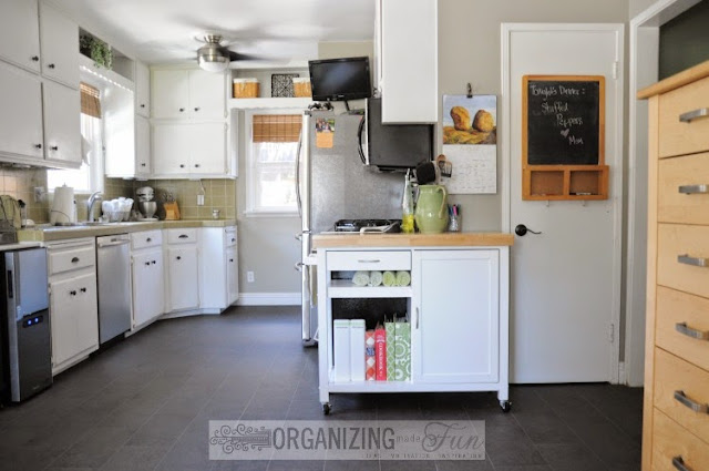 White kitchen with green counters :: OrganizingMadeFun.com