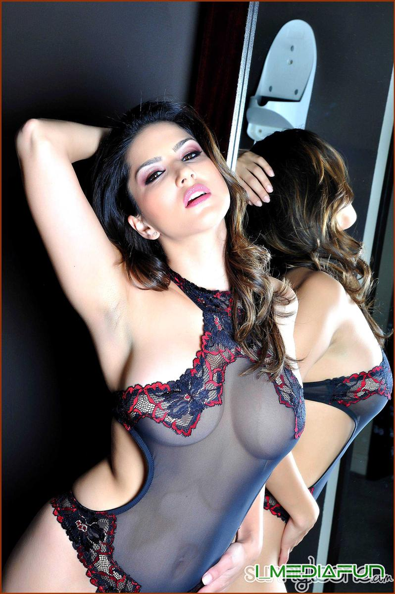sunny leone in transparent red and black lingerie hot nude may hq