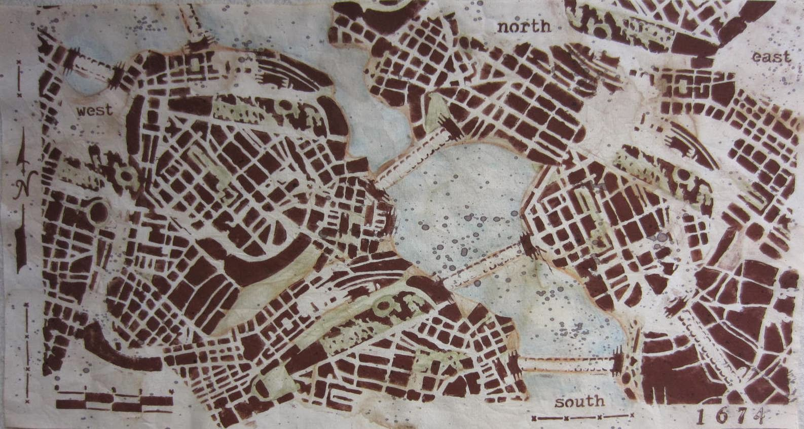 Carol r eaton designs january 2015 i started by staining the fabric with tea and splatterings of paint i had a stencil of a modern city and using a little of gumiabroncs Image collections