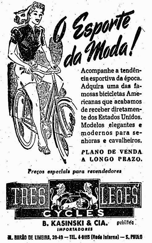 Propaganda da Casa Três Leões - venda de bicicletas para mulheres em 1945