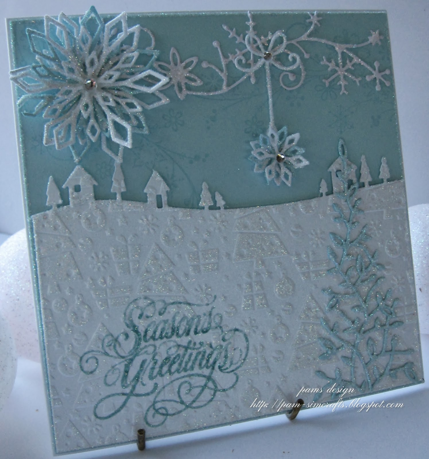 Pamscrafts Blue And White Chistmas Card