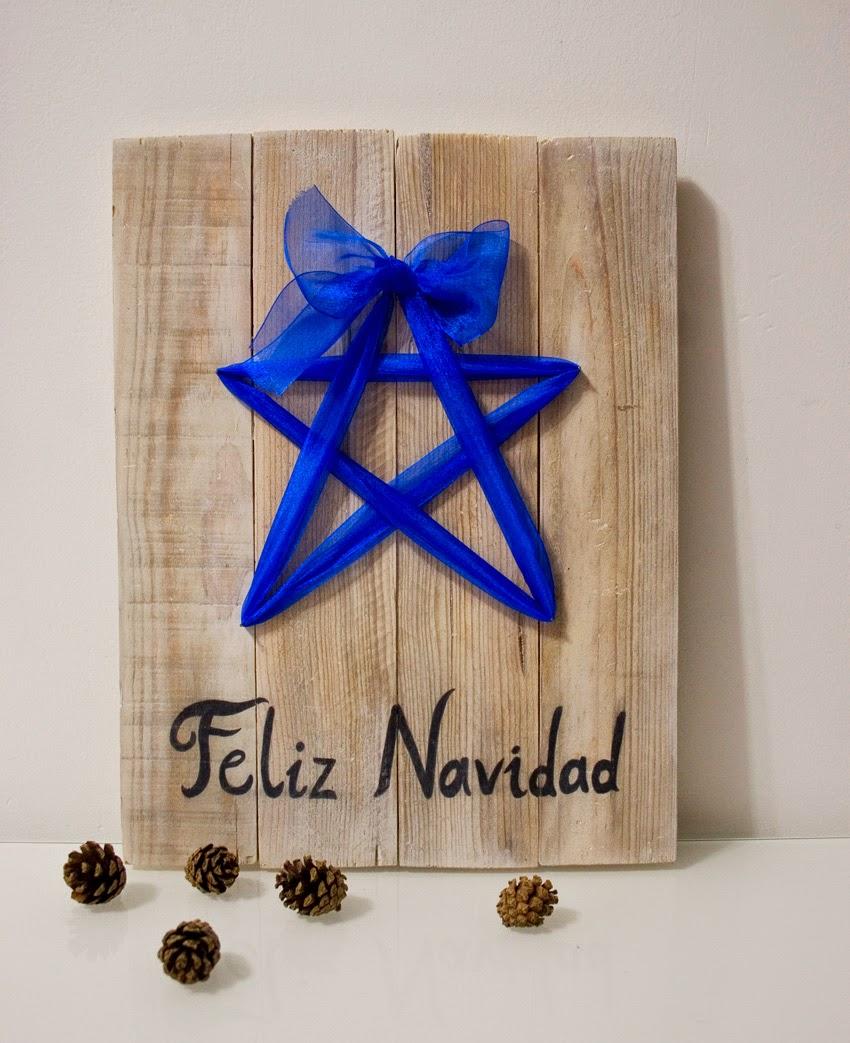 Diariodeco9: Diy Feliz navidad con madera de palet y lazo para Yaicla7