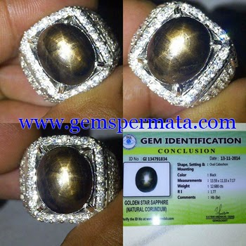 Batu Permata Black Sapphire Star With Memo TGL